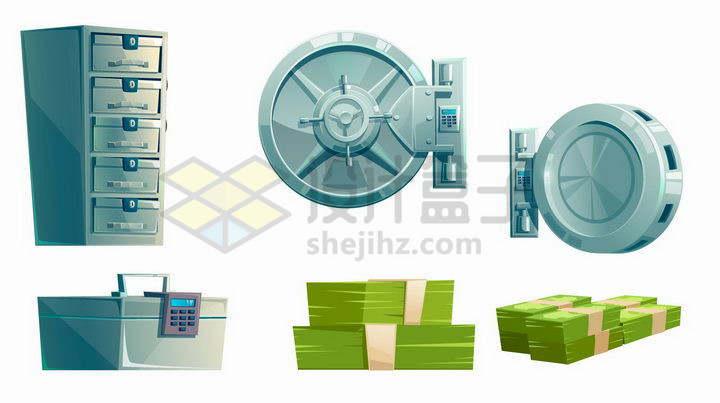卡通文件柜密码箱银行金库大门和绿色美元钞票png图片免抠矢量素材