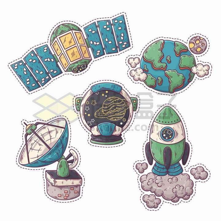 卡通人造卫星火箭地球等天文探测手绘插画png图片免抠矢量素材