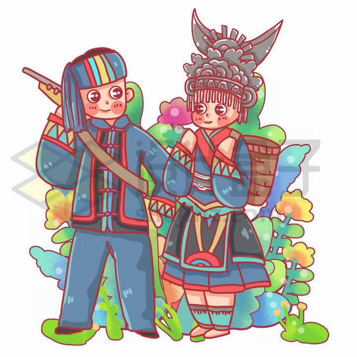 卡通苗族少女少年传统服饰少数民族png图片免抠素材