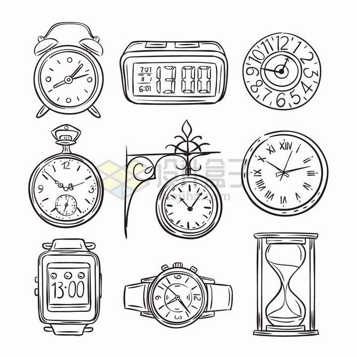 9款时钟闹钟智能手表沙漏等手绘线条时间工具png图片免抠矢量素材