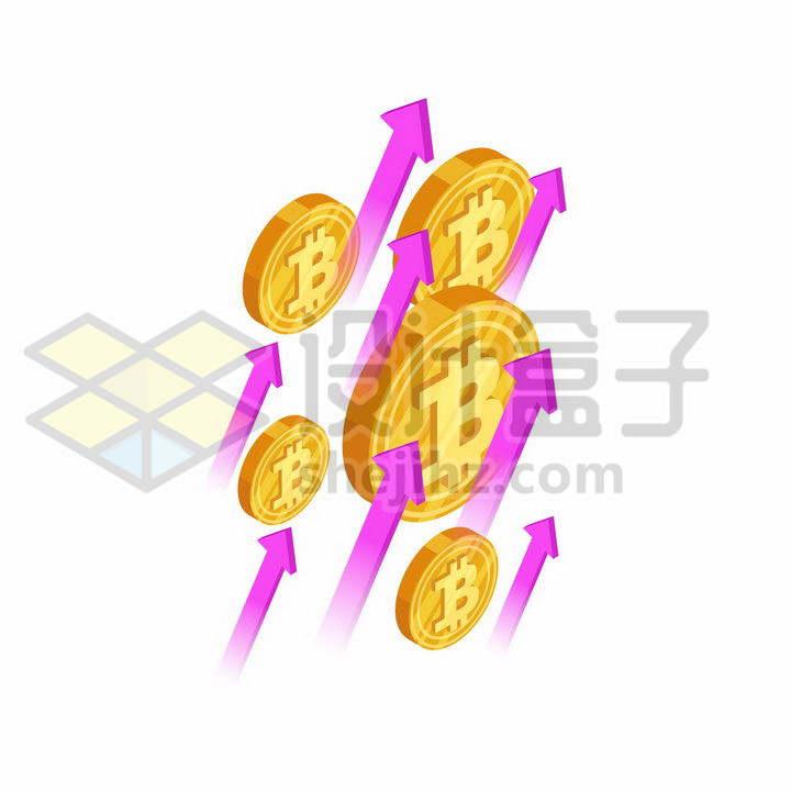 比特币金币和玫红色的箭头象征了虚拟货币上涨png图片免抠矢量素材