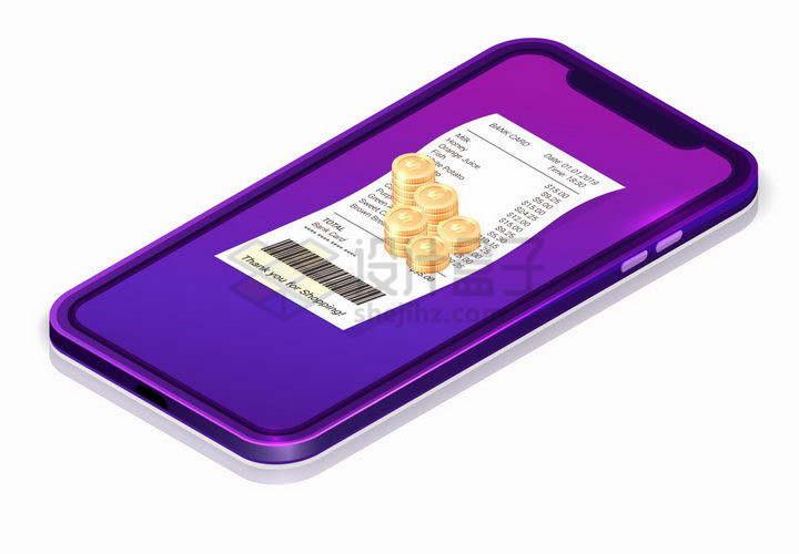 3D风格紫色智能手机上的金币和消费清单小票png图片免抠矢量素材