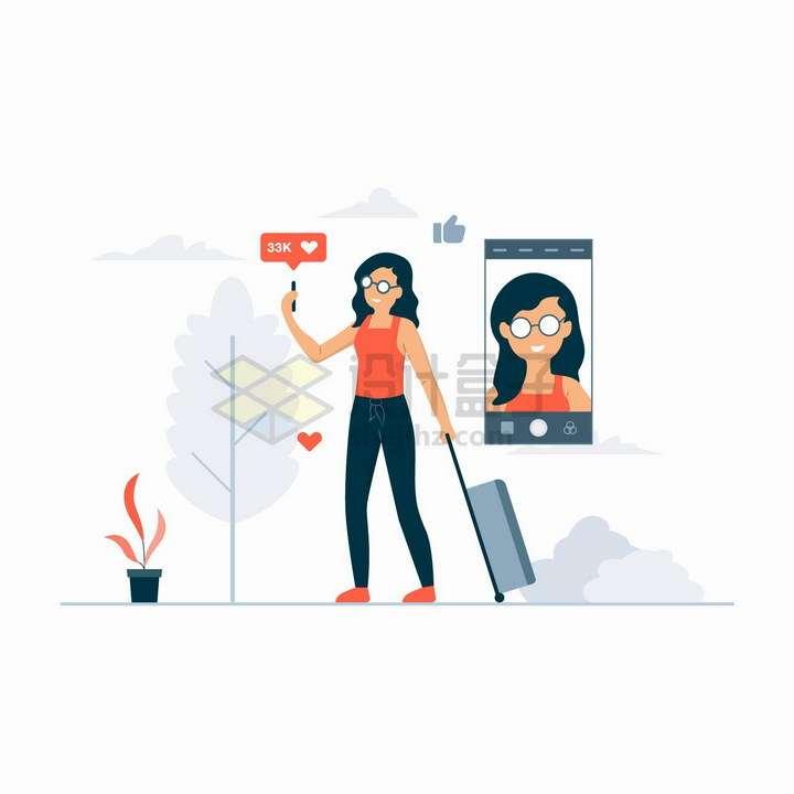 旅游自拍发朋友圈的女孩扁平插画png图片免抠矢量素材