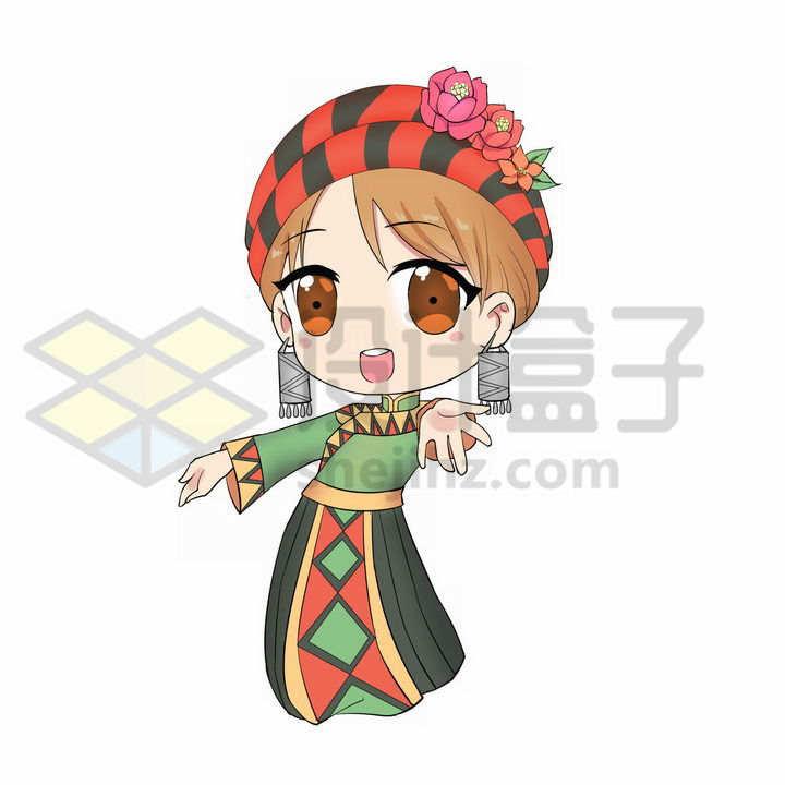 Q版卡通土家族少女传统服饰少数民族png图片免抠素材