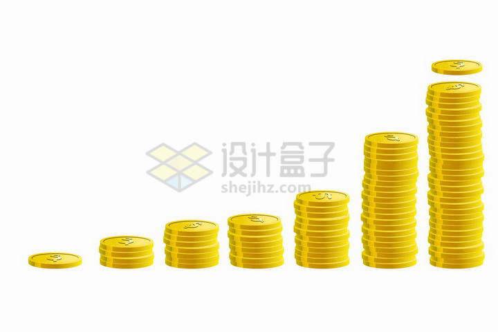 高度不断的增长的金币png图片免抠矢量素材