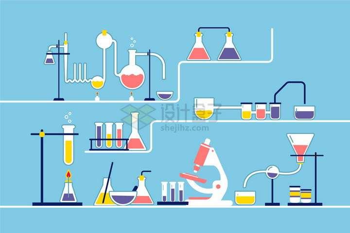 扁平化风格试管烧瓶等化学实验室png图片免抠矢量素材