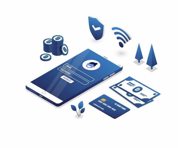 3D风格蓝色智能手机和钞票银行卡比特币等png图片免抠矢量素材