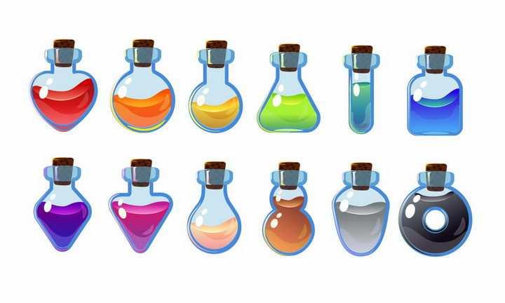 10种卡通游戏中的装满彩色液体的药水瓶png图片免抠矢量素材