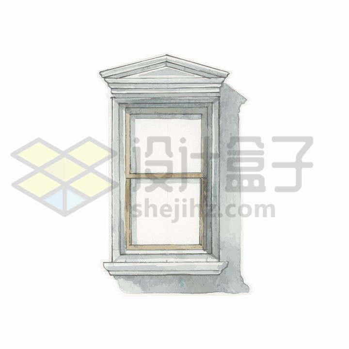 水彩画风格水泥石头复古窗户png图片免抠矢量素材