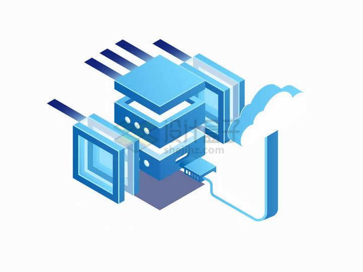 2.5D风格云计算技术和蓝色服务器png图片免抠矢量素材