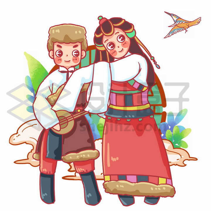 卡通藏族少女少年传统服饰少数民族png图片免抠素材