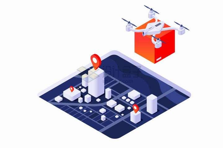 2.5D风格无人机送货和城市立体地图png图片免抠矢量素材
