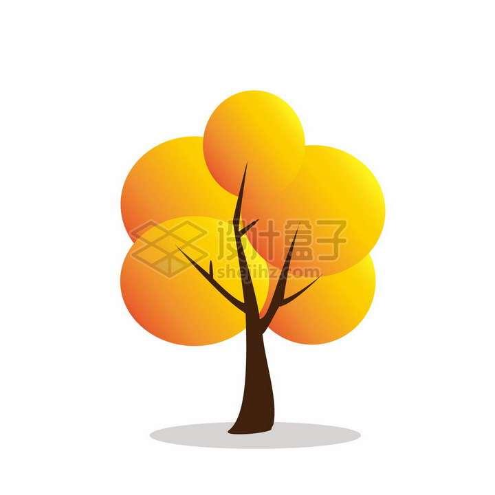 秋天橙色树冠的卡通大树png图片免抠矢量素材