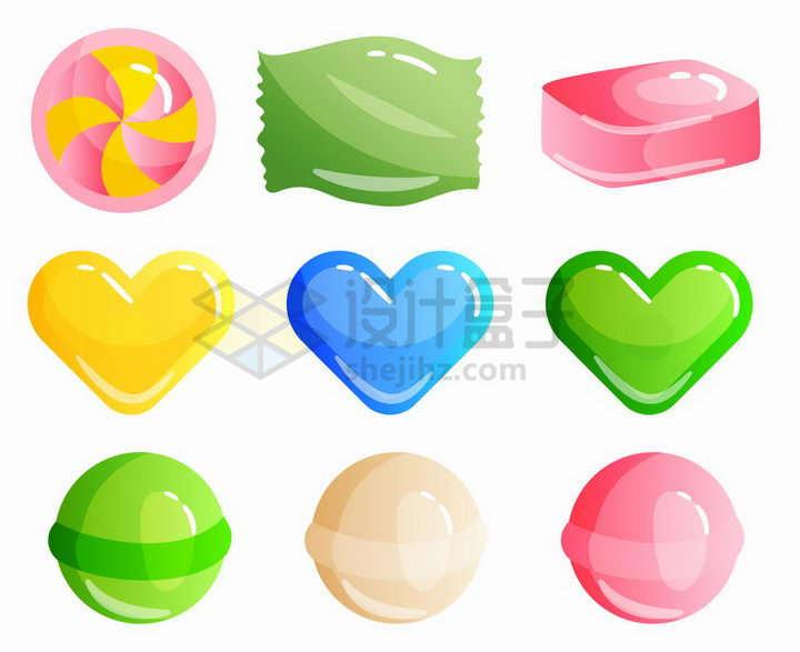 9款MBE风格各种形状的糖果png图片免抠矢量素材