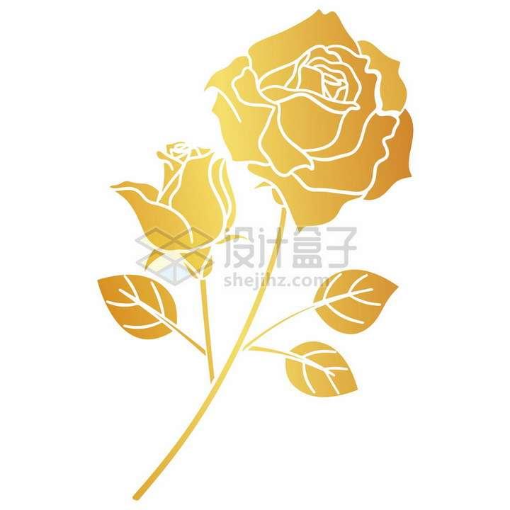 金色剪纸风格金叶子玫瑰花png图片免抠矢量素材