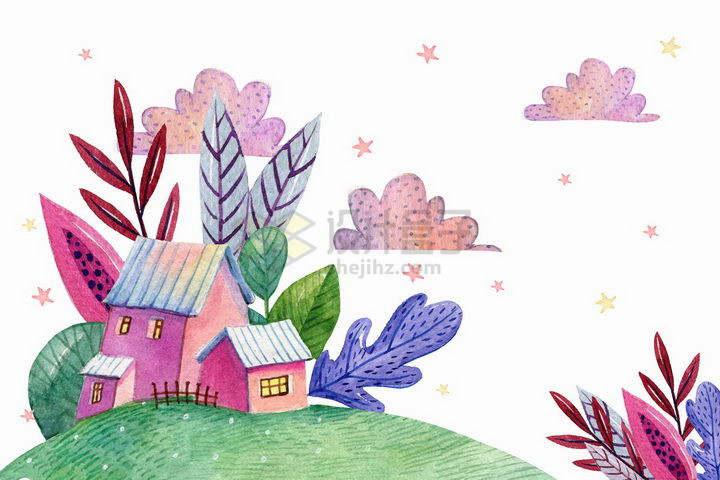 彩绘风格卡通草地和房屋乡村风景图png图片免抠矢量素材