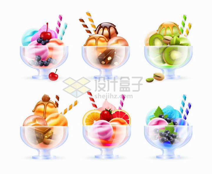 6款装在玻璃碗中的水果冰淇淋美味冷饮png图片免抠矢量素材