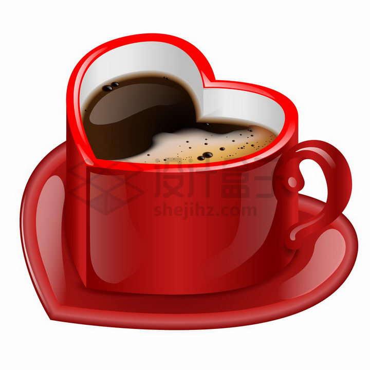 红色心形咖啡杯png图片免抠矢量素材