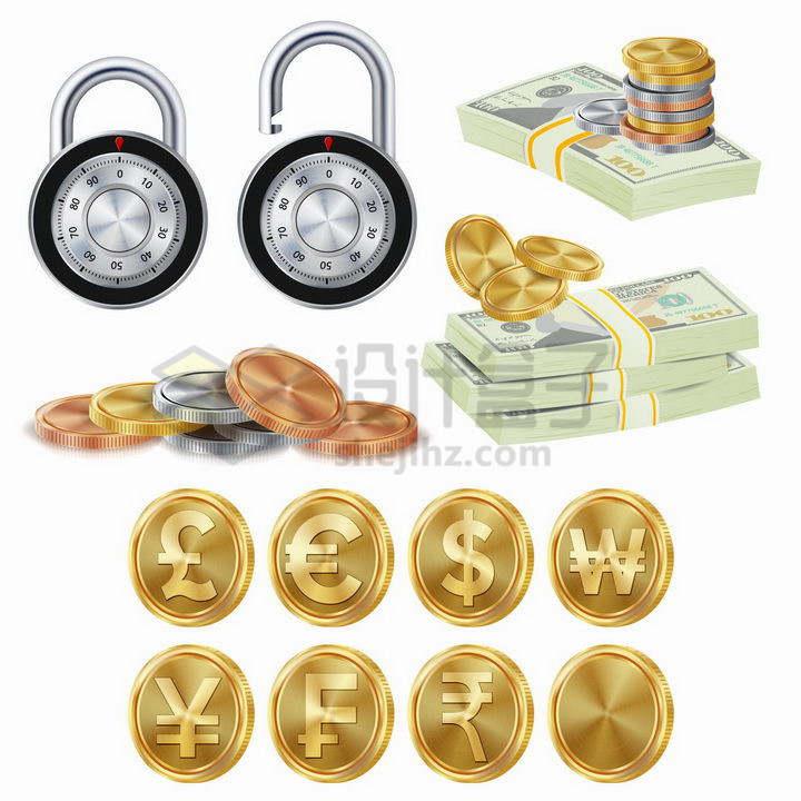 各种逼真的密码锁美元钞票金币等金融元素png图片免抠矢量素材