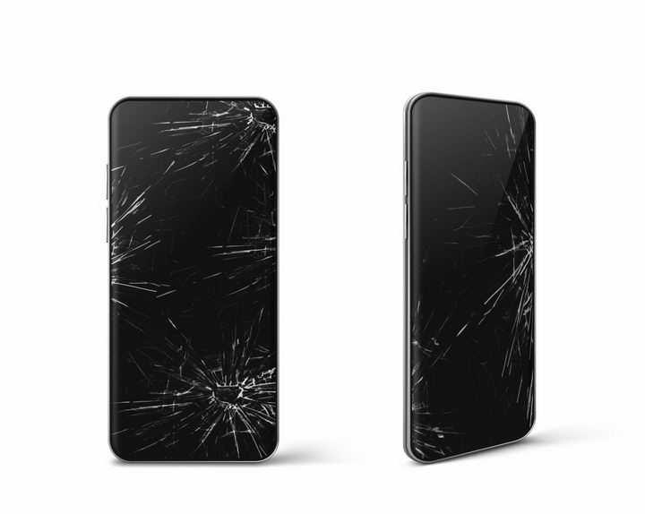 屏幕破碎有裂纹的智能手机png图片免抠矢量素材