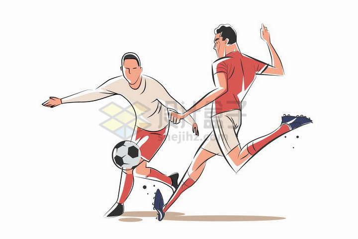 漫画插画风格两个踢足球的运动员球员png图片免抠矢量素材