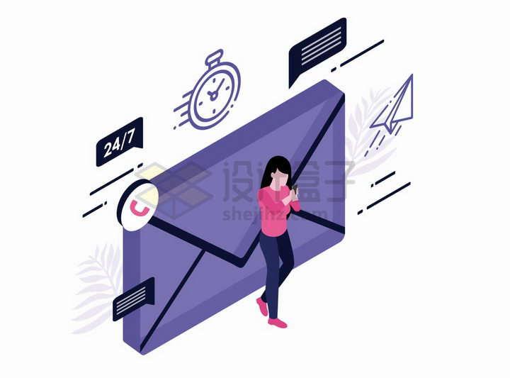 2.5D风格商务人士背靠立体邮件图标收发信息png图片免抠矢量素材