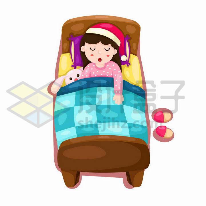 在儿童床上睡觉的卡通小女孩png图片免抠矢量素材