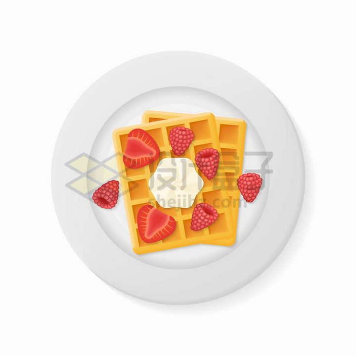 盘子中的华夫饼和草莓美味营养早餐png图片免抠矢量素材