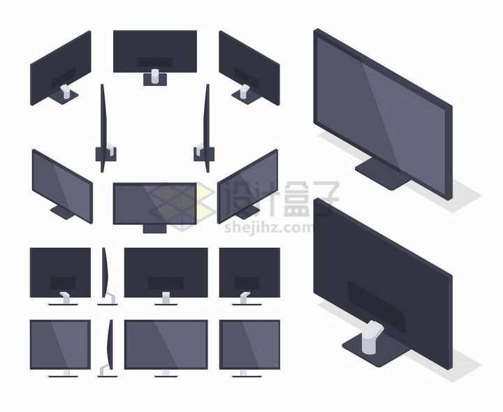 2.5D风格各种不同角度的电脑显示器png图片免抠矢量素材