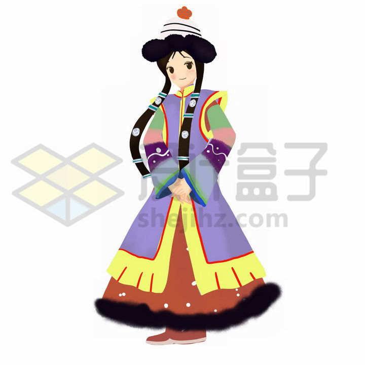 卡通蒙古族少女传统服饰少数民族png图片免抠素材