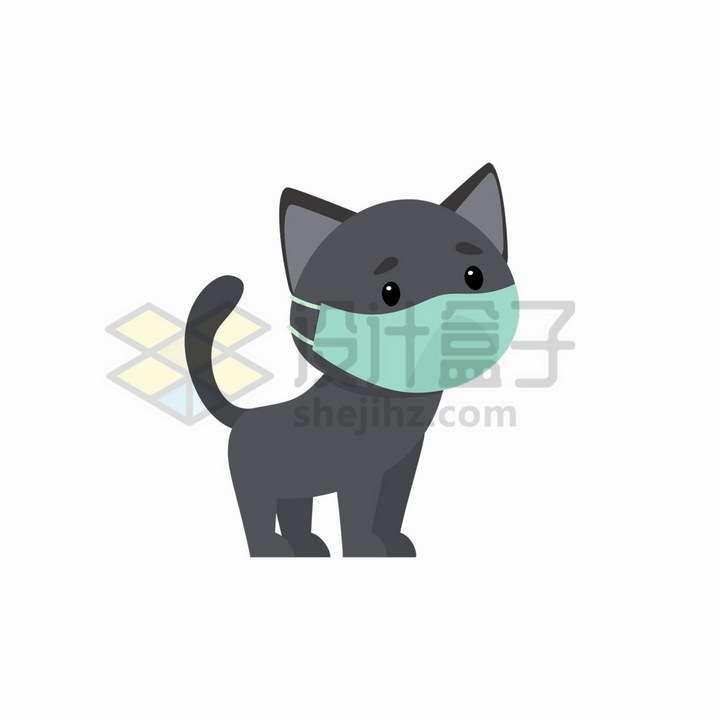 戴口罩的卡通猫咪png图片免抠矢量素材