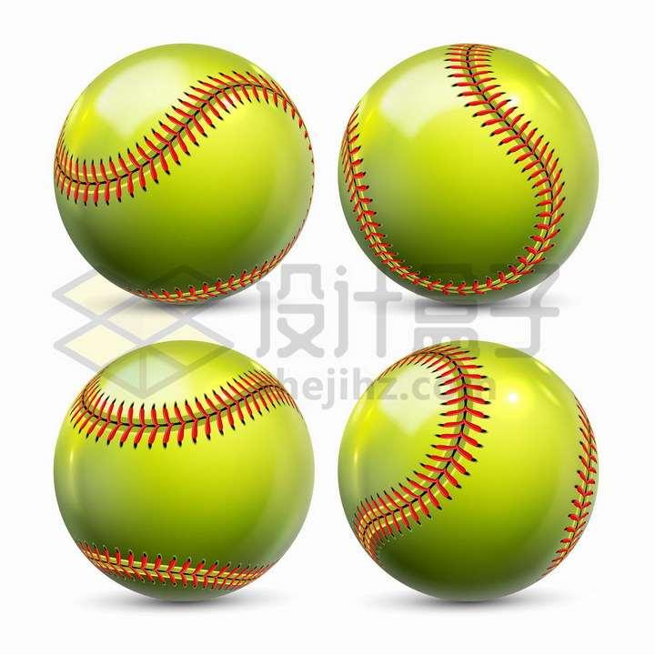 4款绿色的棒球垒球体育球类png图片免抠矢量素材
