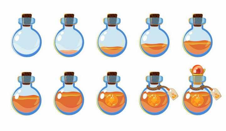 10种卡通游戏中的红色药水瓶png图片免抠矢量素材