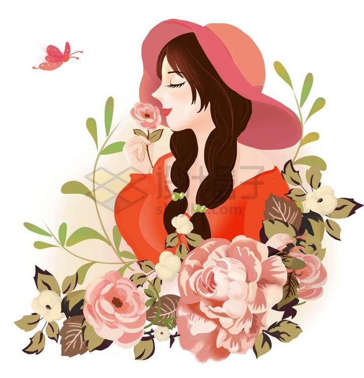 彩绘风格花丛中的美丽女孩女生节png图片免抠素材