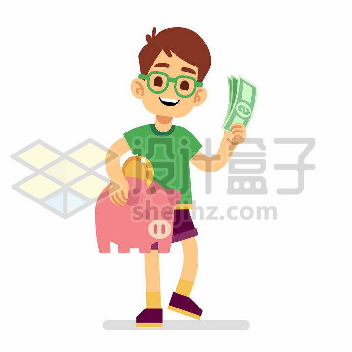 卡通小男孩把美元钞票放入小猪储蓄罐中存钱png图片免抠矢量素材