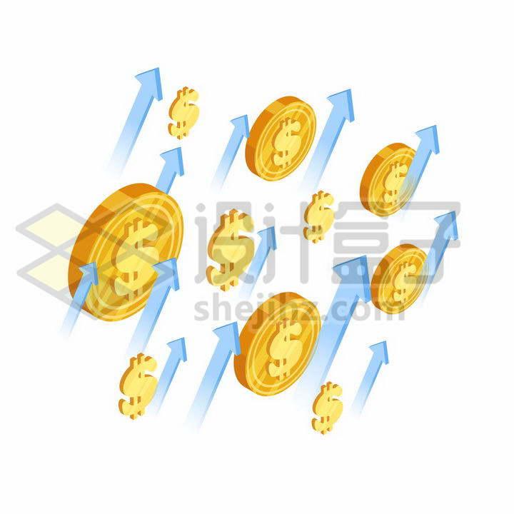 比特币金币和蓝色的箭头象征了虚拟货币上涨png图片免抠矢量素材