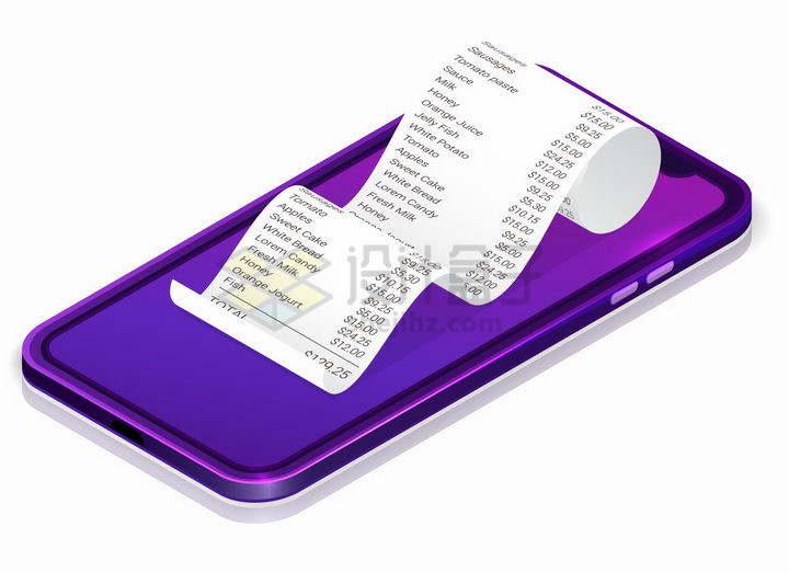 3D风格紫色智能手机上的消费清单小票png图片免抠矢量素材