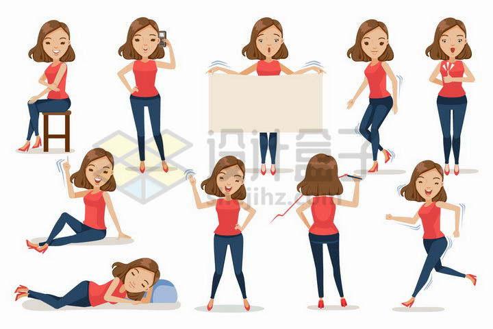 红衣卡通美女的10种日常生活动作png图片免抠矢量素材