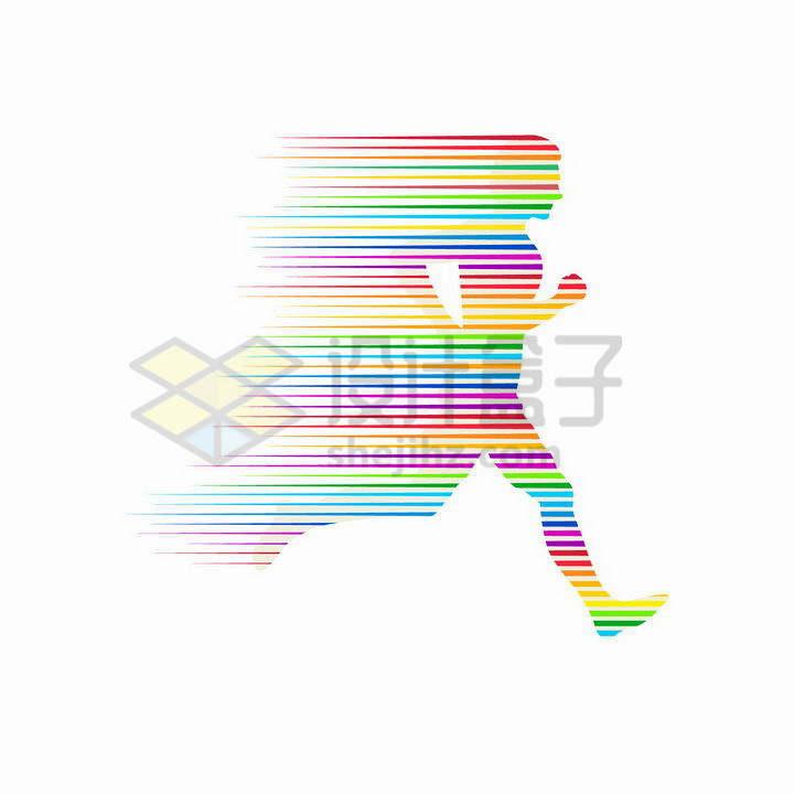 抽象彩色线条组成的跑步的运动员png图片免抠矢量素材