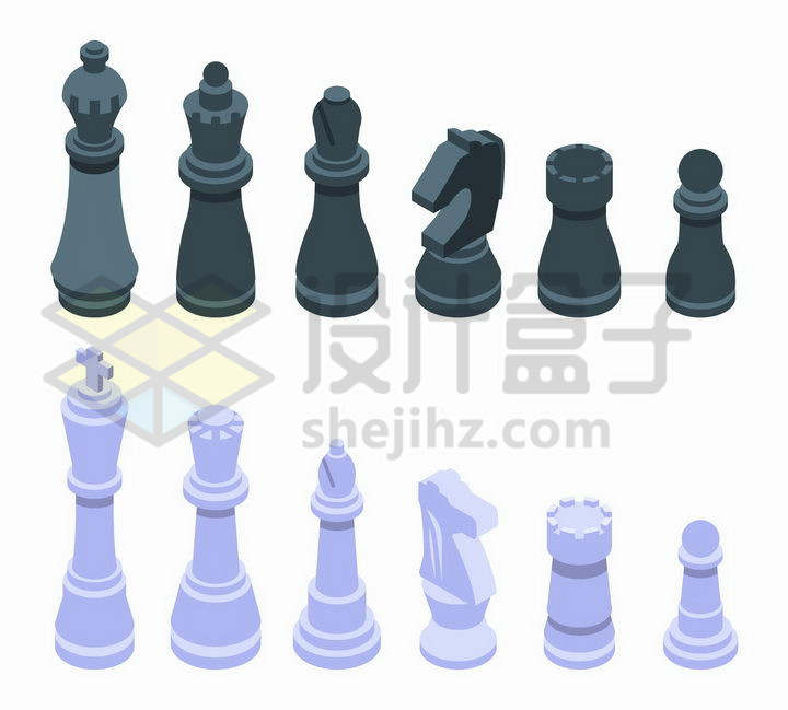 黑色和蓝紫色的2.5D风格国际象棋棋子png图片免抠矢量素材