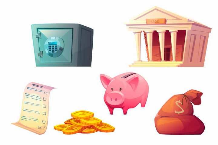 卡通风格银行保险柜合同金币存钱罐和钱袋子等金融元素png图片免抠矢量素材