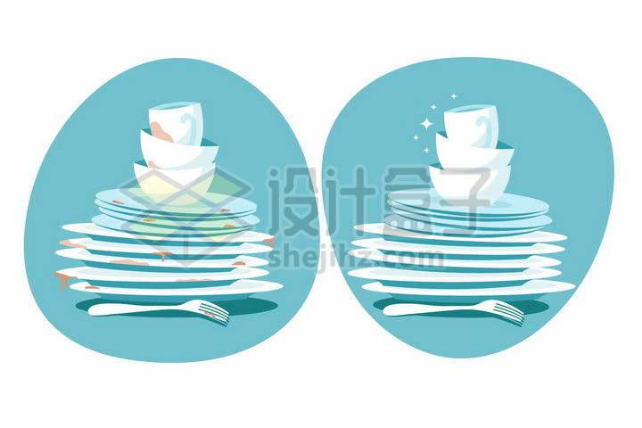 脏兮兮的餐具和洗干净的餐具对比png图片免抠矢量素材