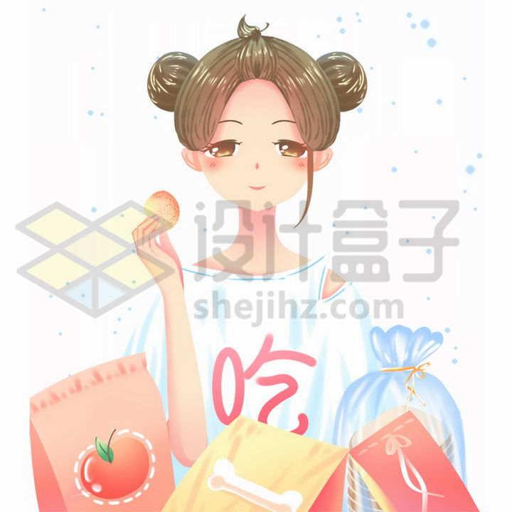 卡通美少女吃零食一个大吃货png图片免抠素材