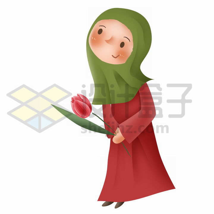拿着花的Q版卡通回族少女传统服饰少数民族png图片免抠素材