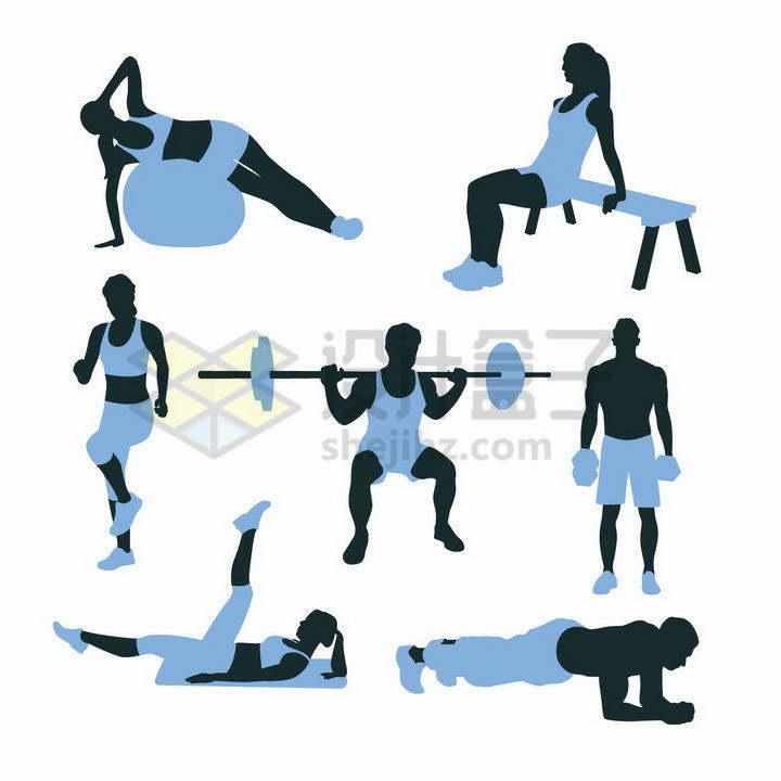 在健身房中使用健身球举重平板支撑的双色男人女人png图片免抠矢量素材