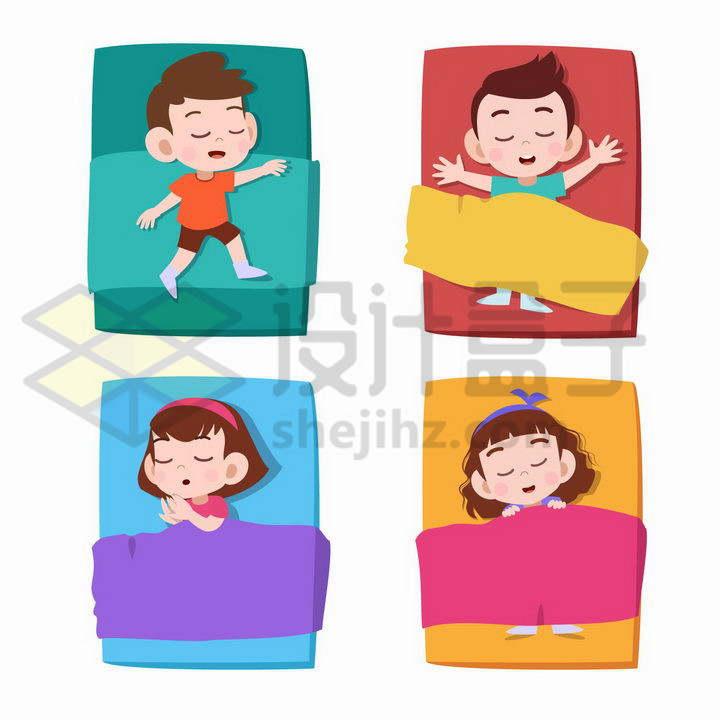 4款正在床上睡觉的卡通男孩和女孩png图片免抠矢量素材