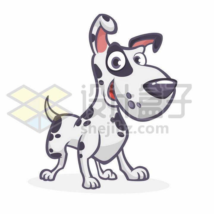 可爱的卡通斑点奶牛狗狗png图片免抠矢量素材