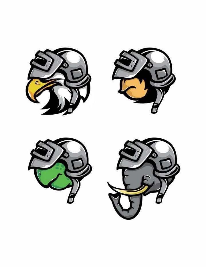 四款戴着三级头的老鹰猩猩乌龟和大象PUBG绝地求生吃鸡游戏png图片免抠矢量素材