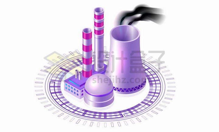紫色圆环上的火力发电站核电站的冷却塔和烟囱png图片免抠矢量素材