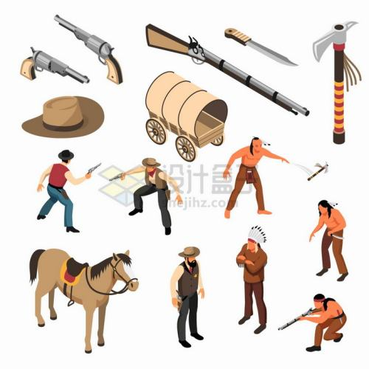 2.5D风格西部世界中的牛仔印第安人马车手枪等png图片免抠矢量素材